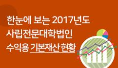 한눈에 보는 2017년도 사립전문대학법인 수익용 기본재산 현황